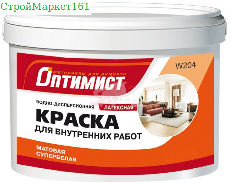"""Краска В/Э W204 латекс """"Оптимист"""" 7 кг."""