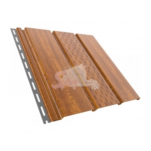 Панель софит перфорированная 4000х305 мм. (золотой дуб).